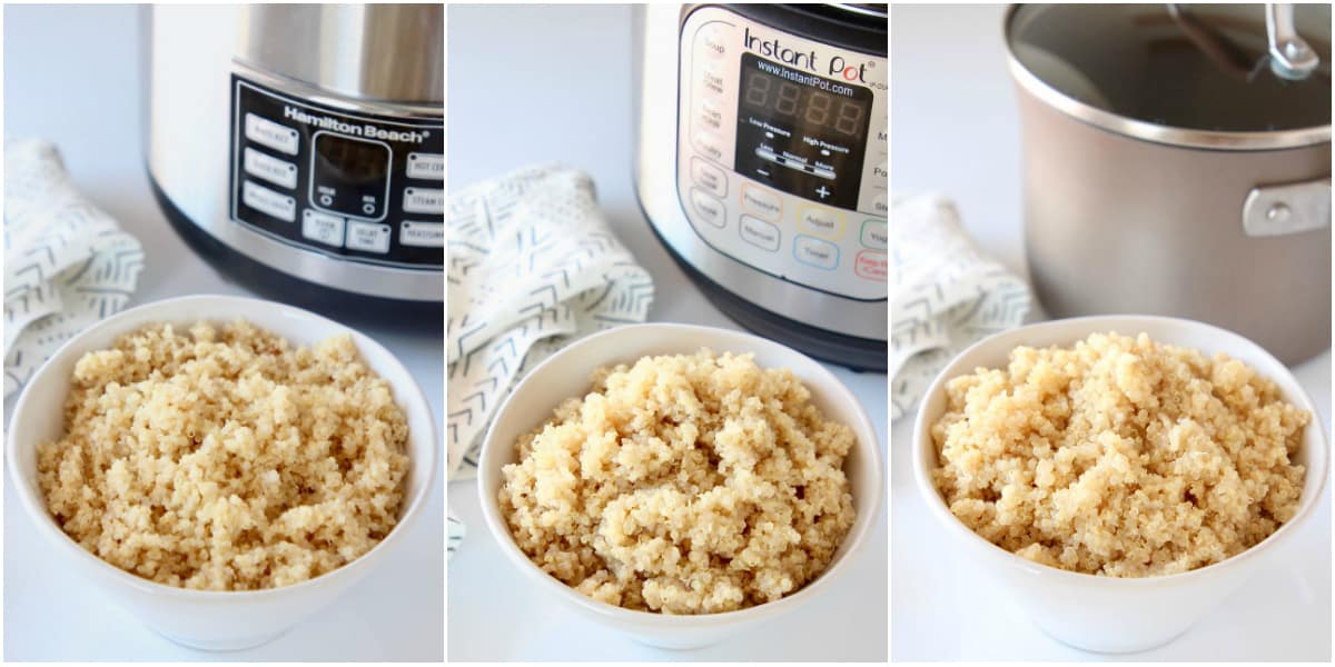 three bowls of quinoa in front of a rice cooker, instant pot and sauce pan