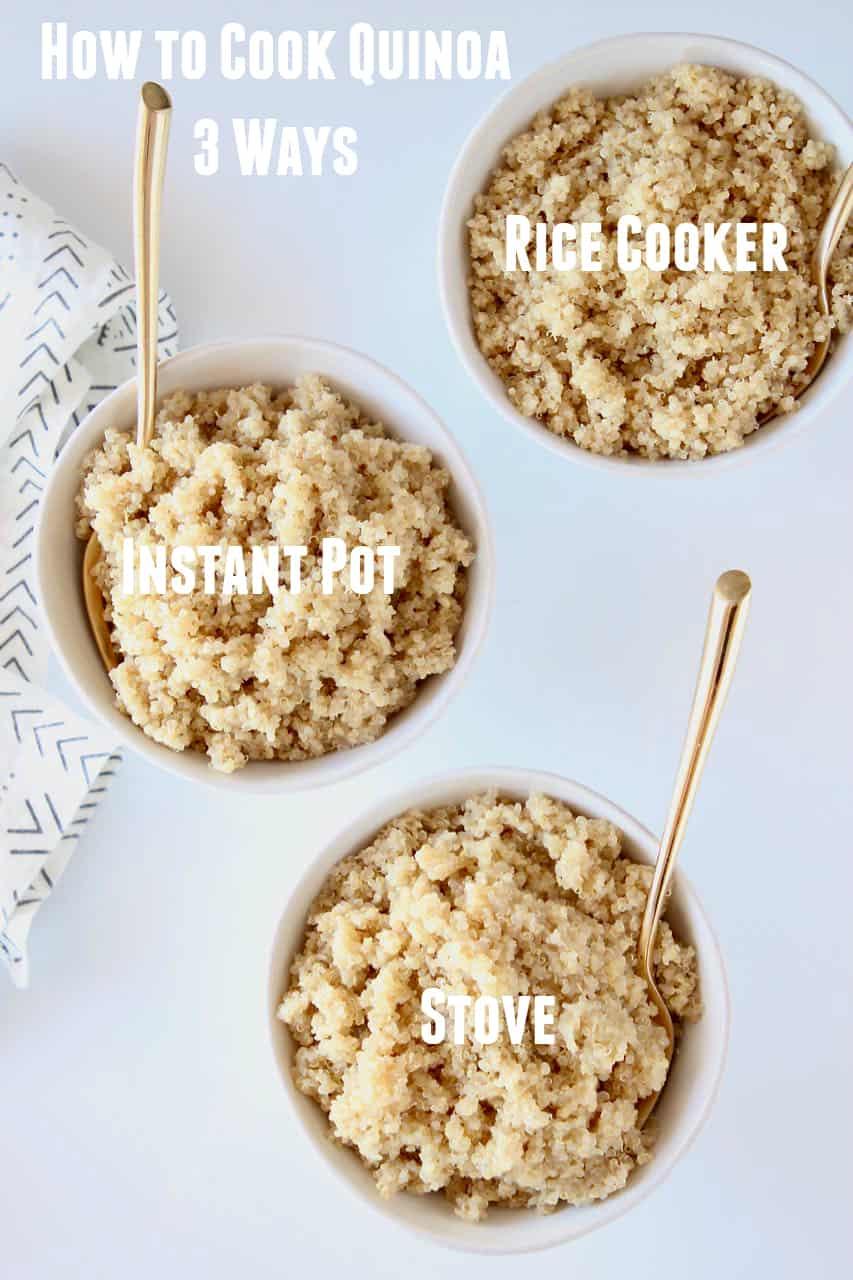 three bowls of quinoa with text overlay