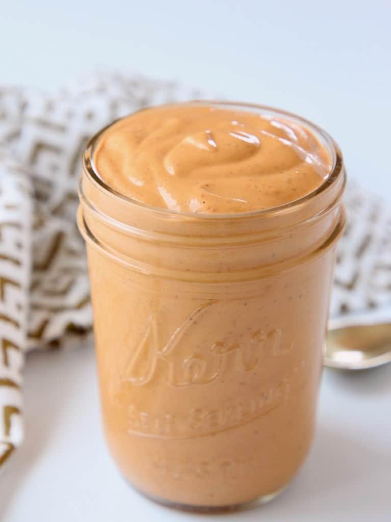 Creamy chipotle sauce in mason jar
