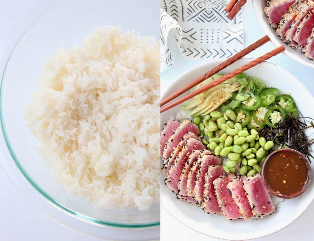 Collage of two images, sushi rice in glass bowl, and sushi rice in bowl topped with seared ahi and edamame