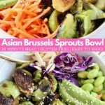 Image of cooked brussels sprouts in bowl with shredded carrots and avocado, with text overlay