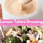 Collage of images with tahini sauce in bowl and roasted broccoli in bowls with text overlay
