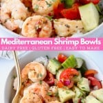 Image of shrimp in bowl with tomato cucumber salad, with text overlay