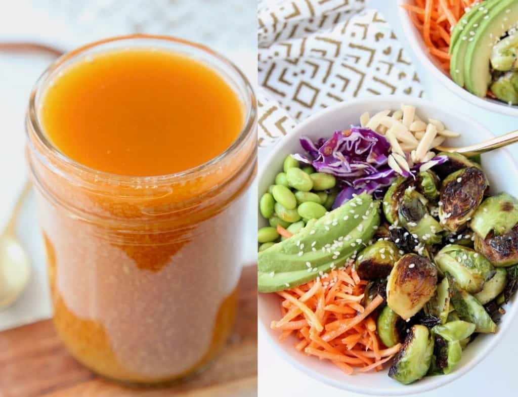 Miso vinaigrette in mason jar next to bowl of brussels sprouts, carrots and avocado