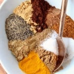 Image of spices in bowl with spoon, with text overlay