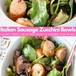 Sliced sausage and spinach leaves in bowl with text overlay