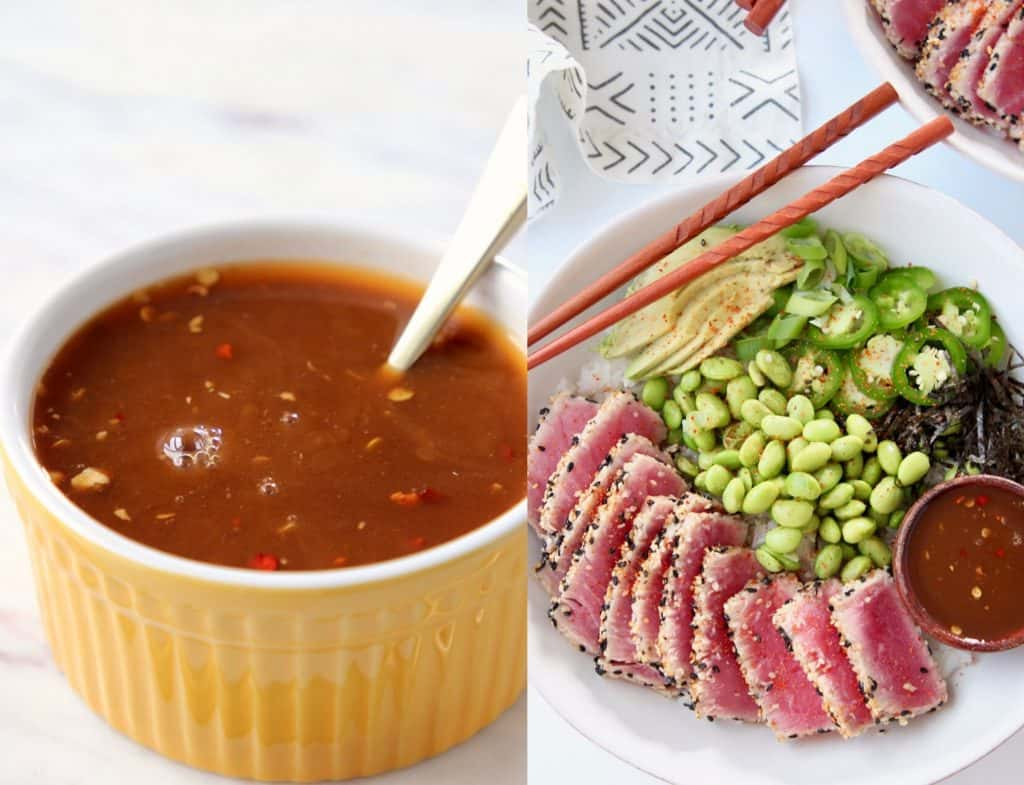 Sesame sauce in small yellow bowl and sushi bowl with seared ahi tuna