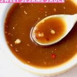 Image of sesame sauce in yellow bowl with text overlay