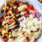 Image of bowl filled with diced chicken, corn salsa and diced tomatoes, with text overlay
