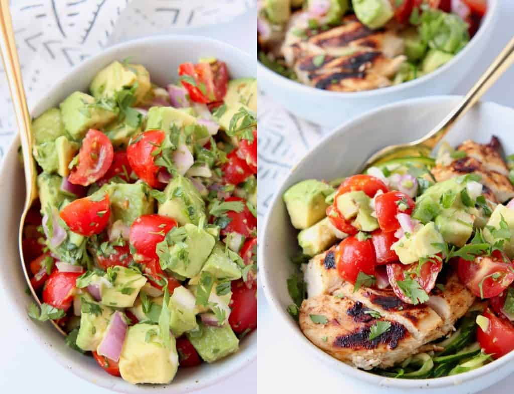 Avocado salsa in bowl next to grilled chicken in bowl with salsa on top