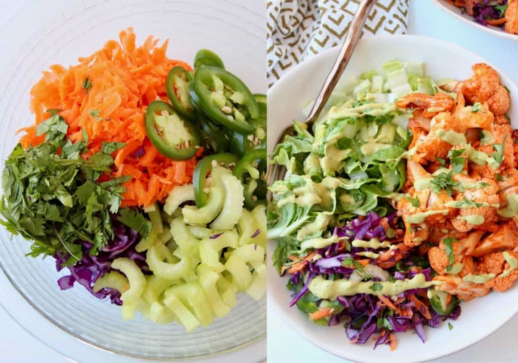 collage of two images with raw veggies in bowl and roasted cauliflower in bowl with raw veggies and fork