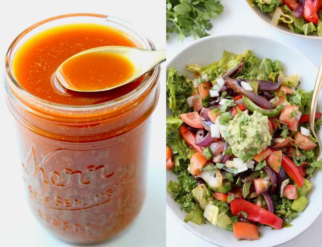 Image of chipotle vinaigrette in mason jar, next to fajita salad in bowl