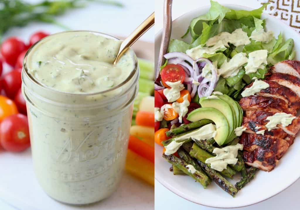 avocado ranch dressing in mason jar next to bbq chicken salad in bowl