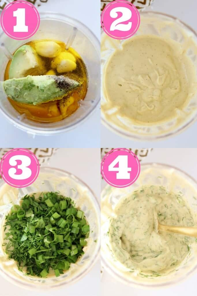 collage of images showing how to make vegan avocado ranch dressing