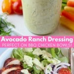 avocado ranch dressing in mason jar with gold spoon next to BBQ chicken salad