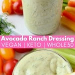 avocado ranch dressing in mason jar with gold spoon