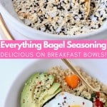 everything bagel seasoning in bowl with gold spoon and quinoa in bowl topped with a fried egg and avocado