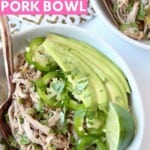 Overhead image of pulled pork in bowl with jalapenos and avocado