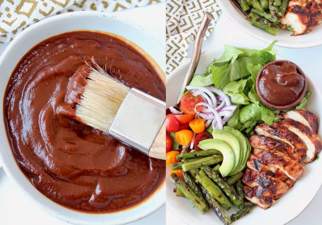 BBQ sauce in bowl with pastry brush, next to bowl of bbq chicken salad