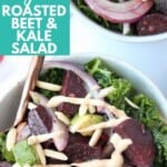 Overhead image of kale beet salad, topped with a drizzle of tahini dressing