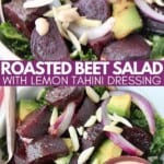 Roasted beet kale salad in bowl with fork