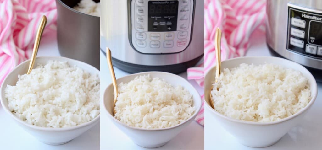 3 bowls of white rice with gold spoons