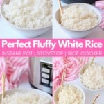collage of white rice in bowls with gold spoons