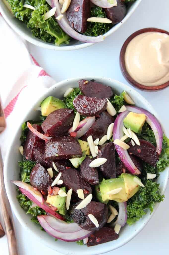 Overhead image of roasted beet salad in bowl