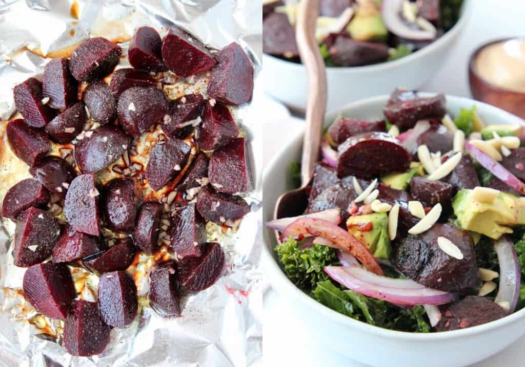 Chopped beets on a piece of foil, next to roasted beet salad in a bowl