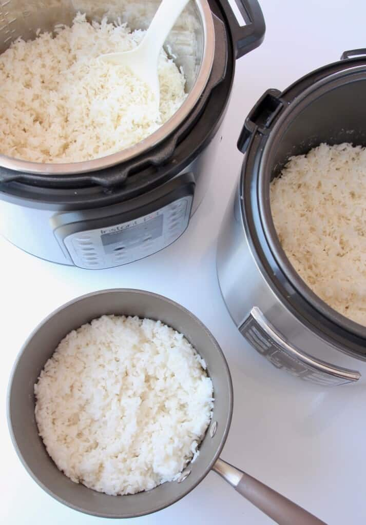 White rice is stockpot, instant pot and rice cooker