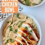 Sliced chicken breast in bowl with zucchini noodles in a cheese sauce