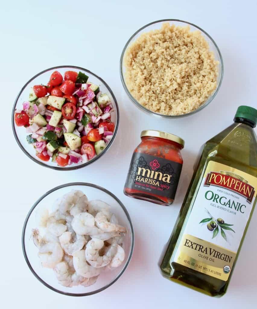 Ingredients for harissa shrimp bowls