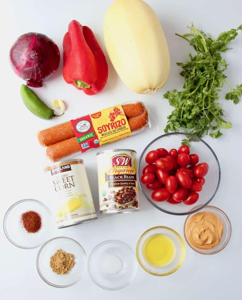 Ingredients for spaghetti squash burrito bowl