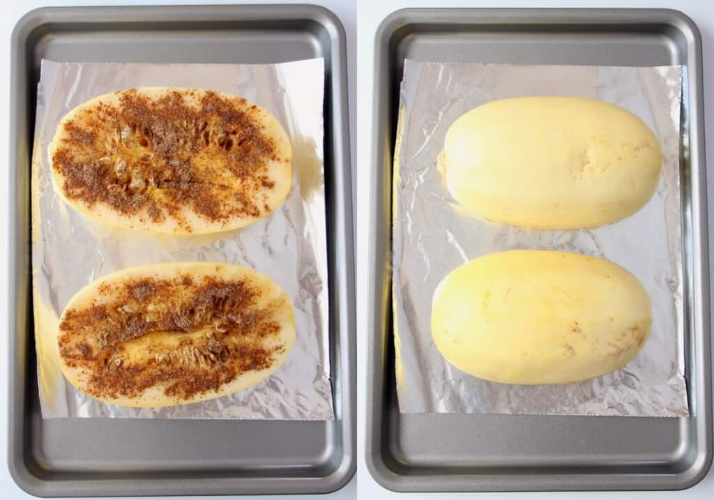 collage of images showing spaghetti squash halves on baking sheet