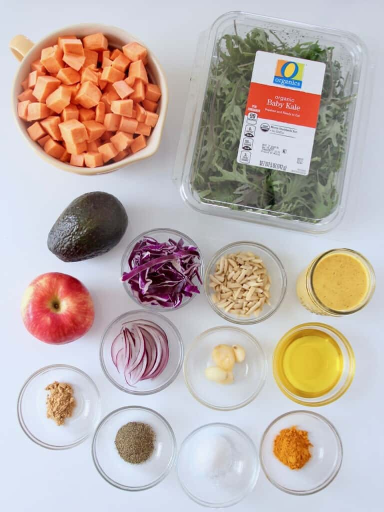 overhead image of kale sweet potato salad ingredients