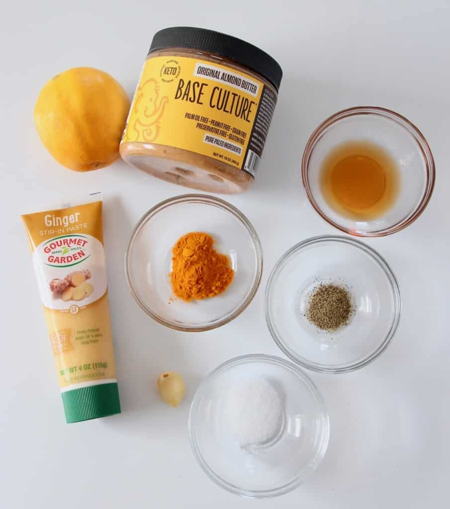 ingredients for turmeric almond butter dressing