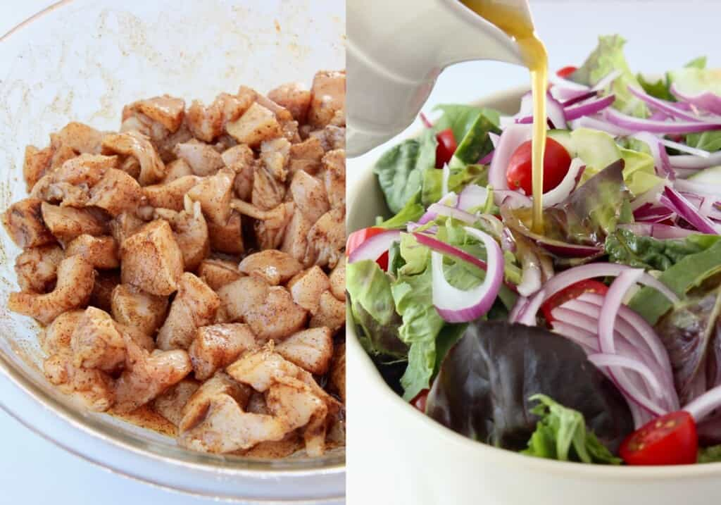 collage of images showing how to make chicken shawarma salad