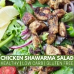 grilled shawarma chicken on salad