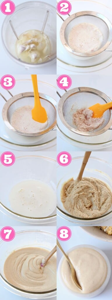 collage of images showing how to make garlic tahini sauce