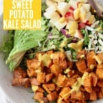 overhead image of roasted sweet potato salad in bowl with fork