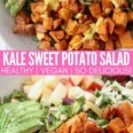 roasted diced sweet potatoes in salad bowl with sliced avocado and diced apples