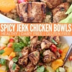 grilled jerk chicken in bowl with oranges, pineapples and avocado