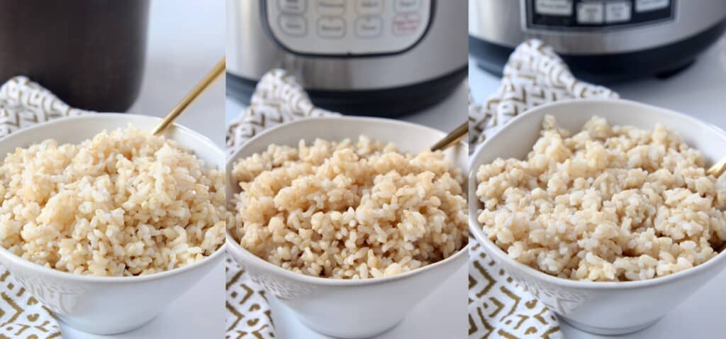 collage of images showing cooked brown rice in 3 separate bowls