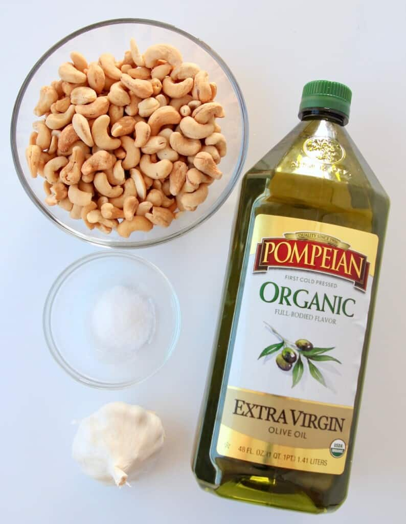overhead image of ingredients for roasted garlic cashew cream sauce