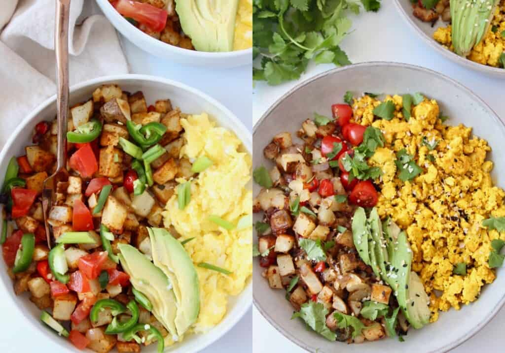 collage of images showing breakfast bowls with scrambled eggs and scrambled tofu