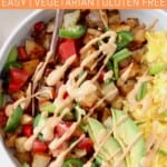 breakfast burrito bowl with scrambled eggs and roasted diced potatoes