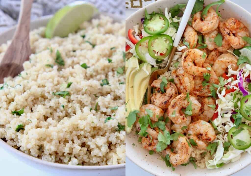 collage of images showing cooked quinoa in bowl and grilled shrimp in bowl with vegetables