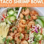 grilled shrimp in bowl with toppings