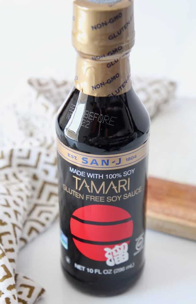 bottle of tamari gluten free soy sauce