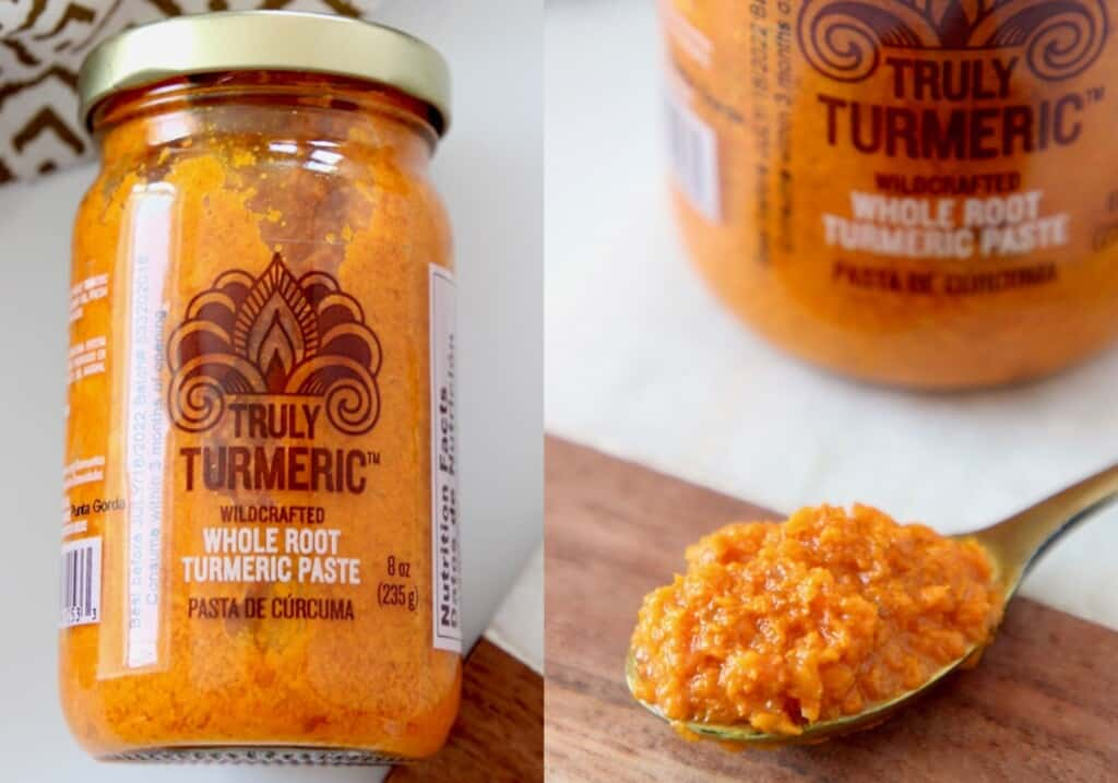 turmeric paste in jar and in small gold spoon